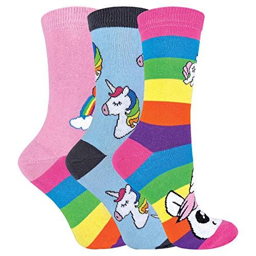 Calcetines de unicornio de rayas arcoíris para mujer | Calcetines de algodón ricos para mujer | Pack de 3 (4-7, unicornio arcoíris)