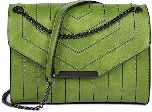 styleBREAKER dames schoudertas met siernaden en ketting, schoudertas, handtas, tas 02012308, Farbe:Groen