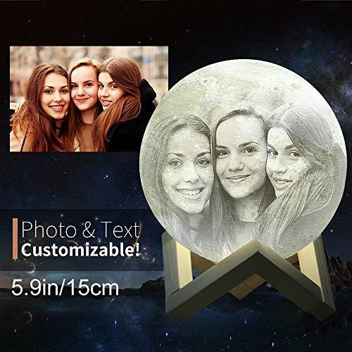 Mond-Lampe, Personalisierbar (Foto, Text, Muster) Auf Dem Mond, 3D-Druck, Mondkugel Licht, Leuchtende Mondlampe, Touch-Wechsel In 2 Farben