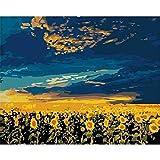 YSNMM Pintura Acrílica por Número Kits De Pintura De Lona Girasoles Arte De La Pared Pintura Sin Marco por Números DIY