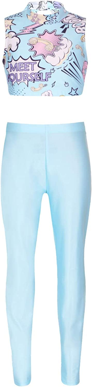 Kaerm Kids Girls Two Piece Keyhole Racerback Sportwear Tracksuit Gymnastic Fitness Athletic Sweatsuit Blue 8