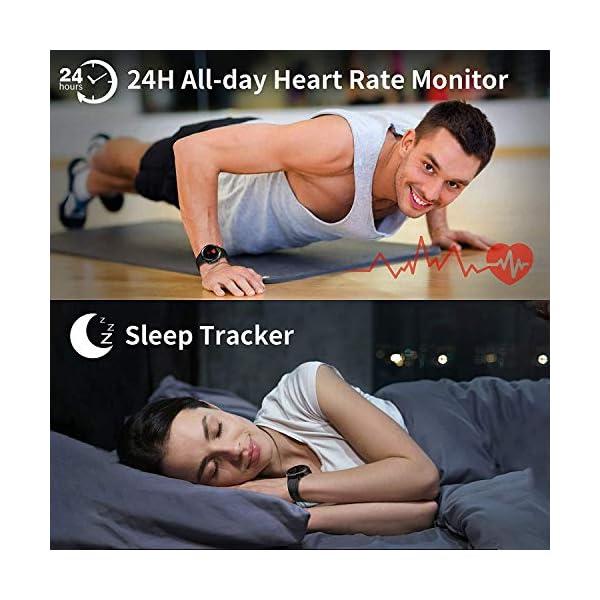Reloj Inteligente Hombre Mujer, GRDE Smartwatch Redondo 12 Modo Deportivo con (Monitor de Ritmo Cardíaco/Sueño/Calorías… 7