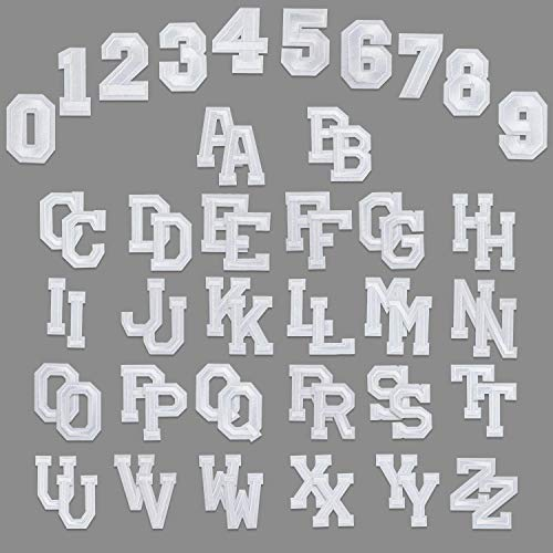 WD&CD 62 Stücke Patches Zum Aufbügeln Buchstaben Zahlen, Aufbügler mit Gebügelt Klebstoff Buchstaben A-Z 0-9 für Schuhe Hut Tasche Kleidung Zubehör DIY Kleidung Patches (Weiß und Weiß)