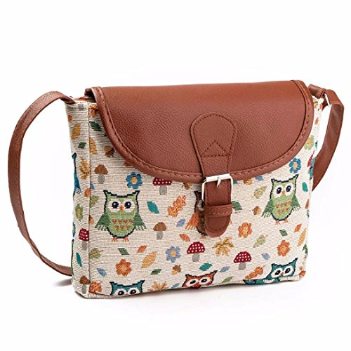 BZLine® Frauen Eule Gedruckt Handtasche Satchel Tasche Umhängetaschen Shopper Tasche Messenger...