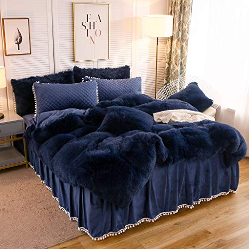 LIFEREVO Luxury Shaggy Plush Duvet Cover 1 PC Crystal Velvet Mink Reverse Ultra Soft Hidden Zipper Closure (Navy, King)
