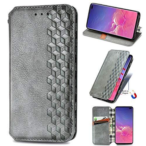 Miagon Samsung Galaxy S9+ Mode Hülle,Retro PU Leder Flip Brieftasche Abdeckung Magnetverschluss Folio Ständer Kartensteckplätze Handyhülle,Grau