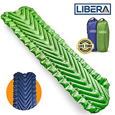 Libera Self-Inflating Sleeping Pad for Camping I Ultralight Sleeping Pad for Backpacking I Insulated Camping Pad for Sleeping I Includes Compact Storage Pouch & Repair Kit