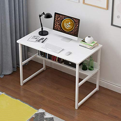 Youyijia Office Computer Desk with Shelves White Study Desk Home Writing Table for Adult and Kids L120 x W48 x H73 cm