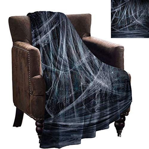 LanQiao Camp Chair Blanket - Halloween Wooden Background with Spider net - Digital Printing Blanket 90'x60'