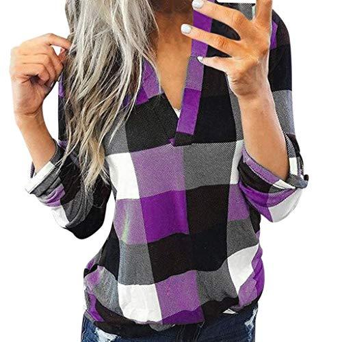Berimaterry_Mujer Blusa Cuello En V Camiseta de Mangas Largas Camisa con Botones Camisa a Cuadros de Manga Larga de algodón Casual para Mujer Camisa de Chaqueta Delgada para Mujer Top Size S-XXL