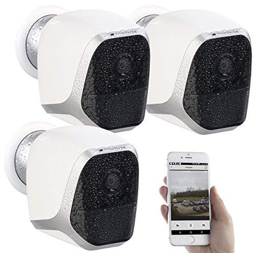VisorTech Kamera: 3er-Set IP-HD-Überwachungskameras mit App, IP65, bis 6 Monate Laufzeit (Überwachungsrecorder)