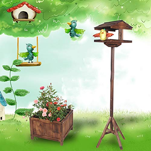 Bird | Dertyped Bird Stand Bird Stand Wooden Bird Feeding Station Anticorrosive Wooden Fence Flower Pot (Color : Wood, Size : One Size), Gym exercise ab workouts - shap2.com