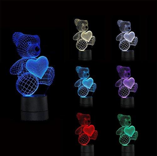 LOTOS® 3D Täuschung Liebes Herz Bären Visualisierung Einzigartige Hauptdekor Stromversorgung über USB touch Schalter bunte Steigung Kinder Energie sparen Nachtlicht
