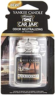 Yankee Candle 1295841 Black Coconut Car Jar Air Freshener, Fresh Scent