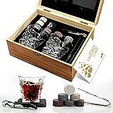 Set regalo con pietre e bicchieri da whisky, pietre refrigeranti in scatola di legno fatta a mano, per bevande fredde senza diluizione, set di 2 bicchieri da whisky, regalo per papà, marito, uomo