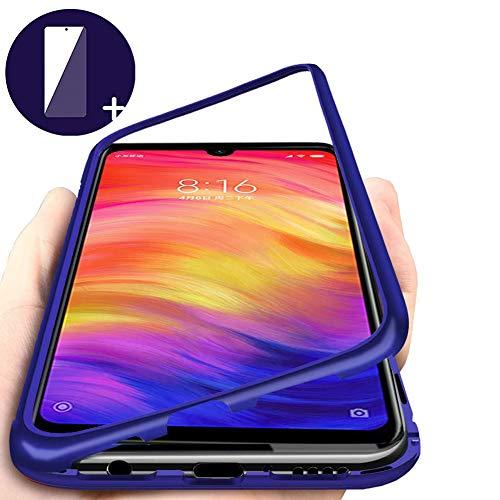 Funda Xiaomi Redmi Note 7 Carcasa Adsorcion magnetica Tecnología Imanes fuertes Incorporado Aluminio híbrido Cuadro atrás Transparente Vidrio templado Resistencia rayado Proteccion Cover, Azul