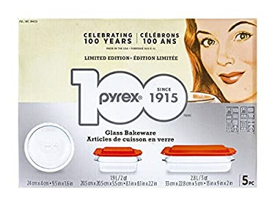 Pyrex 5-piece 100 Years Glass Bakeware Set (Limited Edition)
