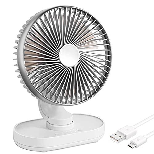 Yoyika Ventilador Silencioso USB/Type-C Recargable, Ventilador de Mesa Potente Oscilante Ventilador de Sobremesa Portátil de 6 Pulgadas, con 4 Velocidades para Oficina Escritorio Casa Dormitorio