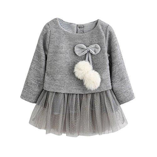 Kobay Kleinkind Baby Kind Mädchen Lange Ärmel gestrickt Bow Newborn Tutu Prinzessin Kleid 0-24M...