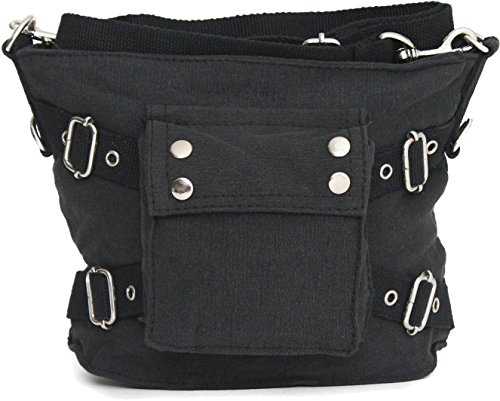 ARMYU Mini Biker Gothic Shoulder Purse Bag with Strap | Cool Look Feel & Design | Great for school, work and everyday use!