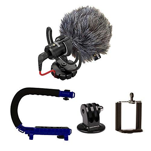 RØDE VideoMicro + CAM CADDIE Scorpion JR (azul) – Microfone compacto na câmera com suporte de choque de lira Ryocote + cabo de suporte manual