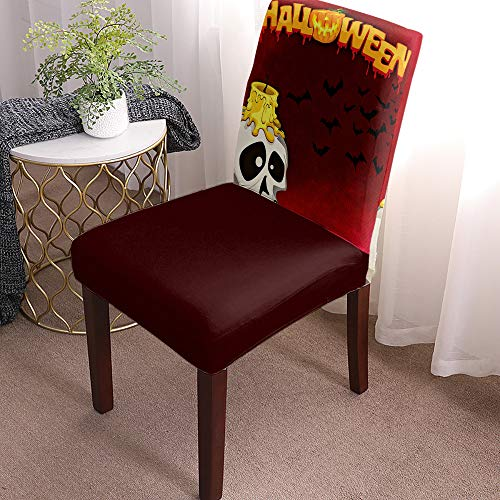 Chair Covers for Dining Room Set of 8 Horror Red Midnight Horror Skull and Candle Halloween Scene Removable Washable Chair Seat Slipcovers for Kitchen, Restaurant, Party, Ceremony