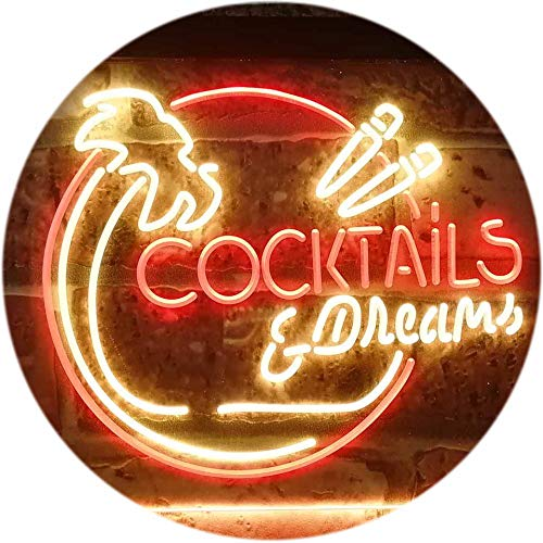 ADV PRO Cocktails & Dreams Bar Pub Club Dual Color LED Enseigne Lumineuse Neon Sign Rouge et Jaune 400 x 300mm st6s43-i3163-ry