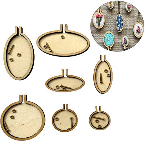 Mililanyo 7pcs Mini Embroidery Hoops DIY Small Ring Wooden Cross Stitch Hoops Circle Sewing Kit Frame Craft