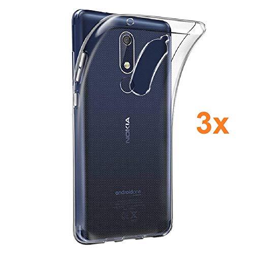 REY 3X Funda Carcasa Gel Transparente para Nokia X5 7 - Nokia 5.1 Plus, Ultra Fina 0,33mm, Silicona TPU de Alta Resistencia y Flexibilidad