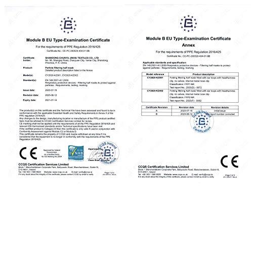 10 Stück FFP2 Atemschutzmaske Staubmaske Atemmaske- EU CE Zertifiziert von Offiziell benannter Stelle CE2834-5-lagige Staubschutzmaske Mundschutzmaske 10 Stück - 2
