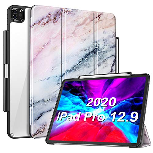 casebot-slim-case-for-ipad-pro-12-9-4th-generation-2020-3rd-gen-2018-w-pencil-holder-lightweight-clear-back-cover-soft-tpu-edge-support-pencil-2nd-gen-charging-auto-wake-sleep-marble-pink