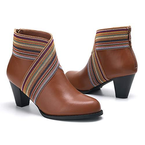 Camfosy Dameslaarzen met hak, warme en slipvaste dames, elastisch, gezellig enkelbandje