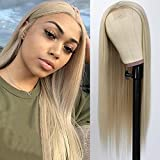 QD-Tizer Ash Blonde Synthetic Hair Wigs Long Straight Hair Mixed Platinum Blonde Color Natural Hair Line Heat Resistant Fiber Hair Wigs for Fashion Women