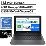 2020 Newest HP Chromebook 11.6 Inch Laptop, Intel Celeron N3350 up to 2.4 GHz, 4GB LPDDR2 RAM, 32GB eMMC, WiFi, Bluetooth, Webcam, Chrome OS + NexiGo 128GB MicroSD Card Bundle