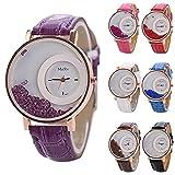 SSITG Piedras - Reloj de pulsera vintage de piel, color oro rosa, para mujer, color lila