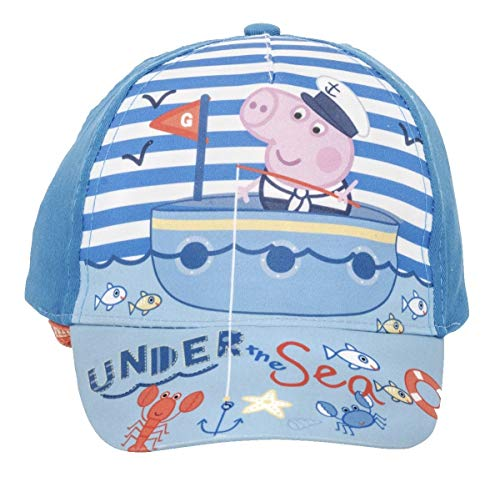 Peppa-Wutz (Peppa Pig Unisex Jungen Mädchen Mütze Baseball Cap Cappy (Blau-Blau, Gr. 52 cm)