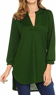 HGWXX7 Women's Casual Plus Size V-Neck 3/4 Sleeve Cotton Tunic Tops Blouse Shirt