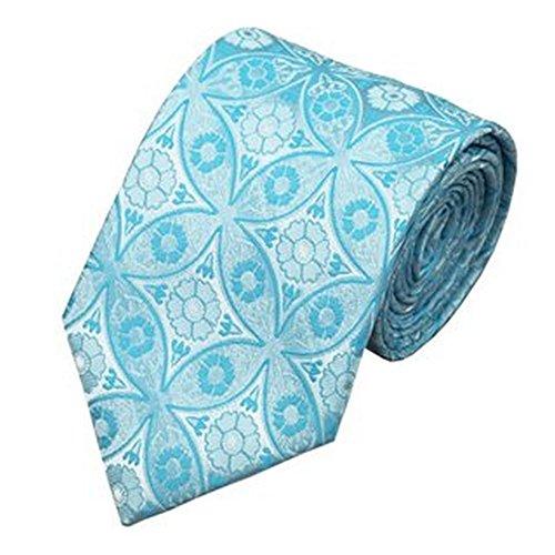 Jason&Vogue Designer Krawatte in eisblau blau weißes florales Muster