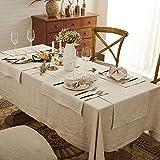 DAPU Tischläufer Leinen, Abwaschbare Tisch Läufer aus reinenm Leinen 40×140cm, Moderne Einfarbige Tischdecke Leinenoptik für Essentisch Hochzeit Party Beige - 5