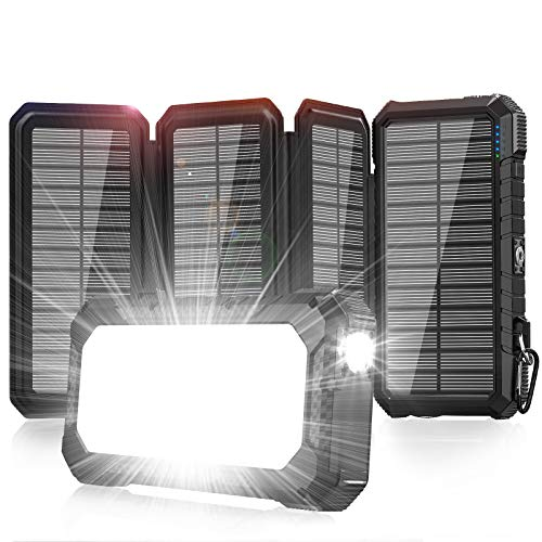 Solar Charger 26800mAh-Power Bank,18W QC3.0 Fast Charger 3A Outdoor External Battery with 4 Solar Panels&Camping Light&Compass&PD USB C for Laptop/iOS&Android Phone Charge