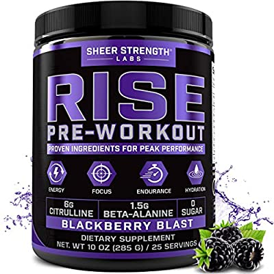 Rise Pre Workout Powder Supplement – Science Backed Pre Workout for Men & Women w/No Jitters -Supports Steady Energy & Lasting Endurance – Sheer Strength Labs - BlackBerry Blast Flavor