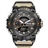 JTTM Hombre Relojes, Al Aire Libre Deportes Multifuncional Analógico Y Digital Deporte Relojes LED Relojes De Pulsera Men Watches,Caqui
