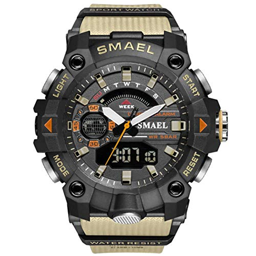 SMAEL Relojes Deportivos para Hombre Resistente Al Agua Digital Militares Relojes Multifuncional Militar Reloj para Hombre,Caqui