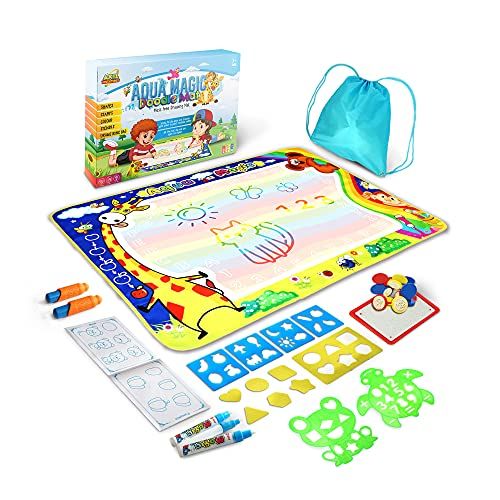 Axel Adventures Aquadoodle Mats For Toddlers Aqua Magic Water Doodle Mat | Toddler Drawing Mat Extra Large Doodle Mat | 28 Pieces Set | Water Drawing Mat 40 x 32 inch Toys 2-4 Years Old Boys and Girls