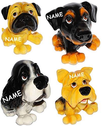 alles-meine.de GmbH 1 Stück - großes Sparschwein - Hund - incl. Name - aus Kunstharz - Mops / Cocker Spaniel / Deutsch Langhaar / Terrier - stabile Sparbüchse - Hundewelpe - Comi..