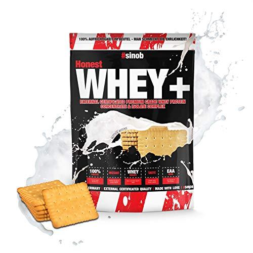 sinob Honest Whey Protein - Butter-Keeeks - 1 x 1000 g. 12,5% Isolate Anteil. Instant lösliches Eiweißpulver mit BCAA & EAA 'Hergestellt in Deutschland'