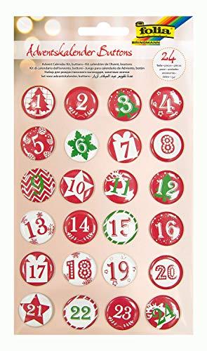 folia 1209 - Adventskalender Buttons, Zahlen zum Anstecken an Jutesäckchen oder Geschenktüten von 1 bis 24 mit Anstecknadel, zum Nummerieren von Geschenken und Beutelchen