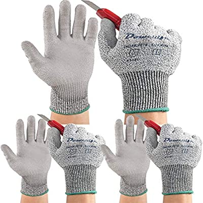 Dowellife 3 Pairs Working Gloves for Men and Women, Cut Resistant Work Gloves, Comfortable Gardening Gloves, Durable Mechanics Gloves and Flexible Fishing Gloves (X-Large, Grey)