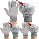 Dowellife 3 Pairs Working Gloves for Men and Women, Cut Resistant Work Gloves, Comfortable Gardening Gloves, Durable Mechanics Gloves and Flexible Fishing Gloves (Medium, Grey)