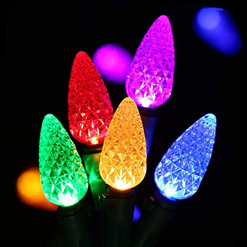 HAYATA C6 Bulbs Christmas Lights 50 LED 16ft Strawberry String Light - Fairy Lighting for Outdoor, Indoor, Garden, Patio, Party, Home, Holiday, Garland, Christmas Tree Decorations (C6-Multi Color)